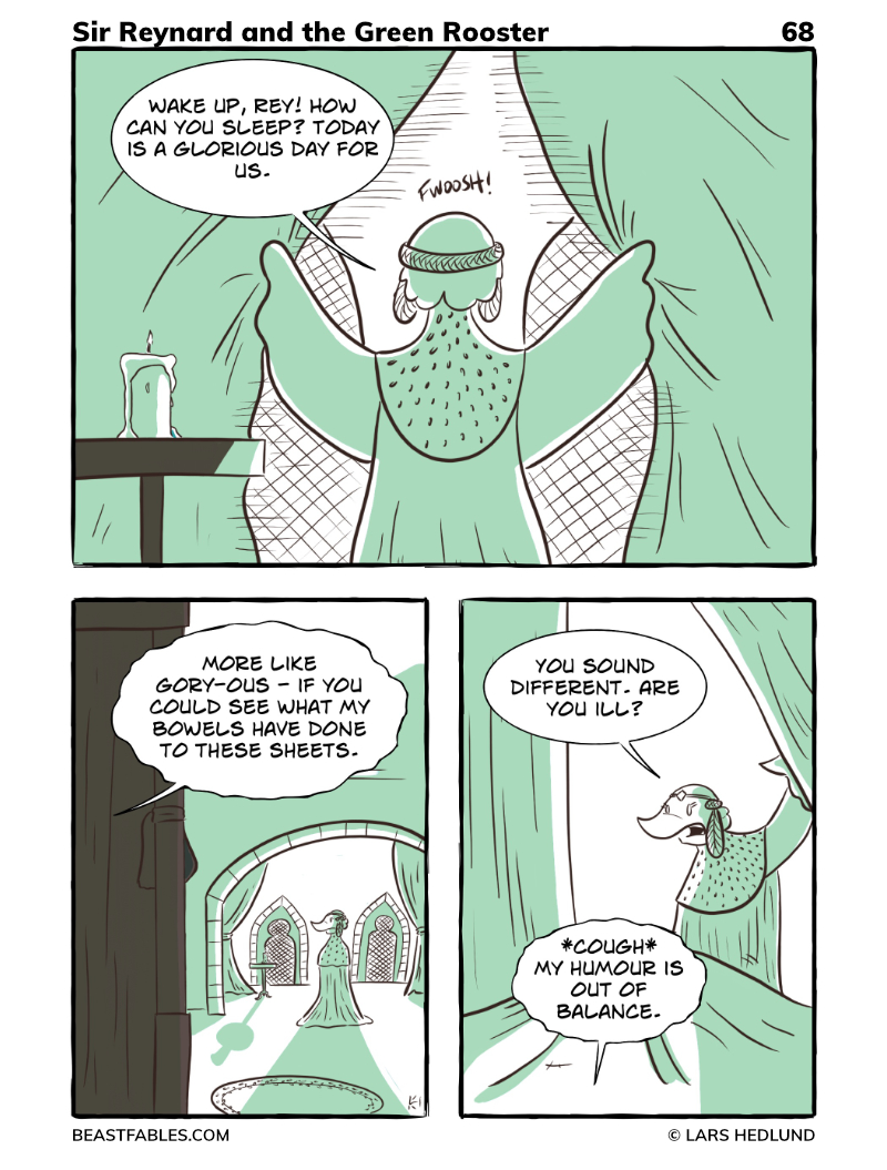Beast Fables - Comic 68 - Pertelote checks in on Rey and finds her unwell.