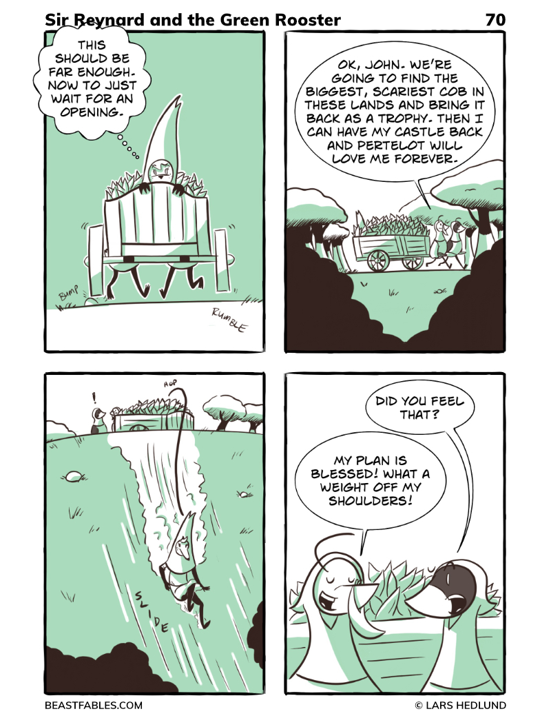 Beast Fables - Comic 70 - Chuantilak goes hunting with Jon, and Rey dressed in a corn costume escapes.