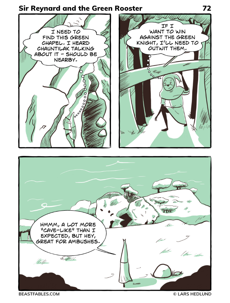 Beast Fables - Comic 72 - Rey finds the Green Knight's chapel and is surprised it is a cave!